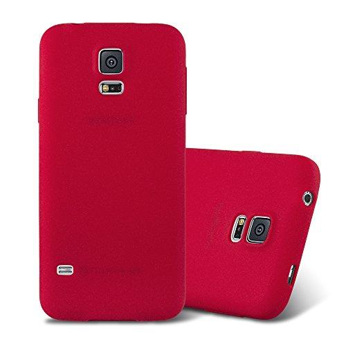 Cadorabo Hülle für Samsung Galaxy S5 / S5 NEO in Frost ROT - Handyhülle aus flexiblem TPU Silikon - Silikonhülle Schutzhülle Ultra Slim Soft Back Cover Case Bumper