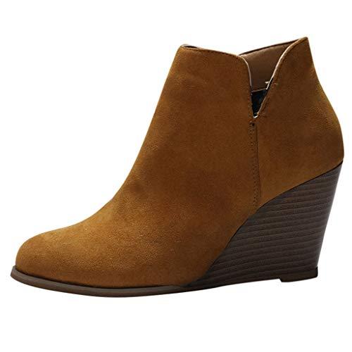 Botines de cuña Mujer Tacones altos Invierno POLP Botas de ante Casual Mujer Zapatos de Tacón de 8 cm Cabeza redonda Antideslizante Comodos Botines de Fiesta