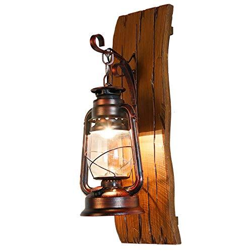 YLSMN Amerikanischen Land Massivholz Wandleuchte Schmiedeeisen Petroleumlampe Pferd Lampe kreative...