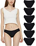 Donpapa Bragas Mujer Pack sin Costura Invisibles Braguitas Microfibra Culotte Bikini Ropa Interior Pack 6 (Negro S)