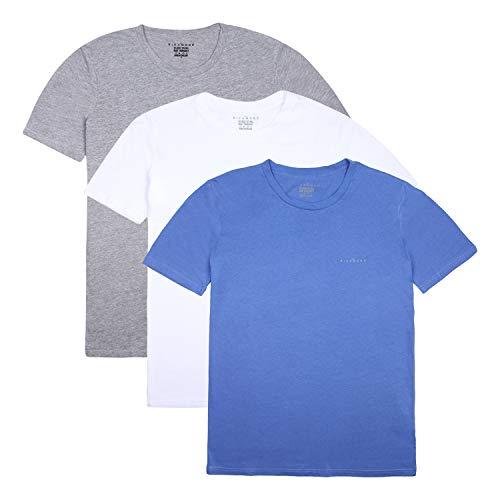 John Richmond - Camiseta Interior para Hombre (Paquete de 3) Colores Blanco, Gris y Azul, Mangas Cortas, Cuello Redondo, 100% algodón, cómodo y Transpirable, Resistente a Lavados frecuentes