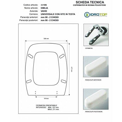 ACB/COLBAM WC-bril van hout gecoat polyester voor Vavid EMILIA Muschio Rlocke Soft Close Chrome