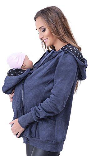 Mija - 3in1 Tragejacke, Umstandsjacke Tragepullover für Tragetuch für Babytrage 4046 (EU42 / XL, Jeans)