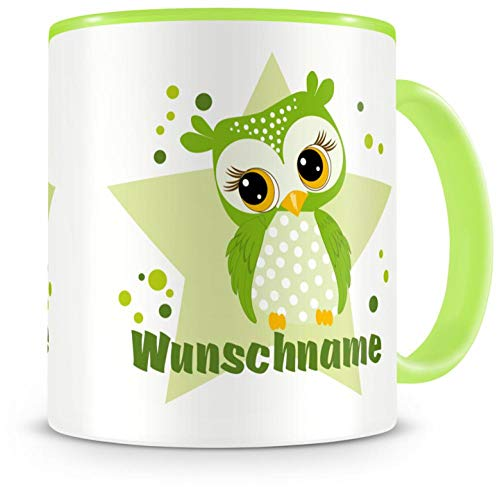 Samunshi® Kinder-Tasse mit Namen und einer Grünen Eule als Motiv Bild Kaffeetasse Teetasse Becher Kakaotasse Nr.2: grün H:95mm / D:82mm