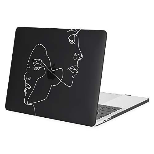 MOSISO Coque Compatible avec MacBook Pro 13 Pouces 2020 2019 2018 2017 2016 Version A2338 M1 A2289 A2251 A2159 A1989 A1706 A1708, Plastique Visage Esquisser Coque Rigide, Noir