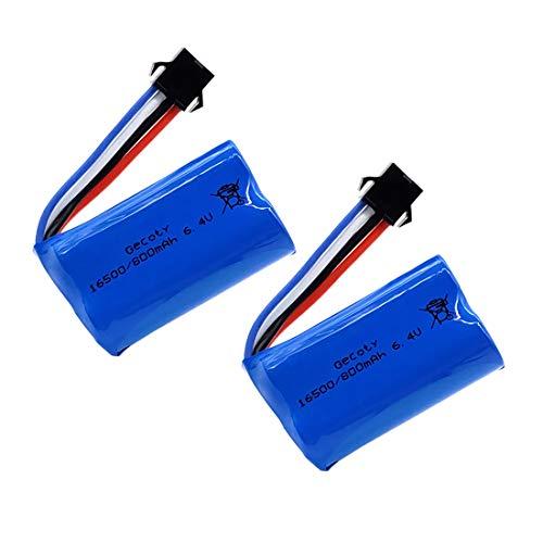 Gecoty® 2 Stück 6,4V RC Akku, 800mAh 15C Li-ion Batterie mit SM-4P-Stecker für Wltoys 18628 18629 18428 18429 Ferngesteuertes Auto