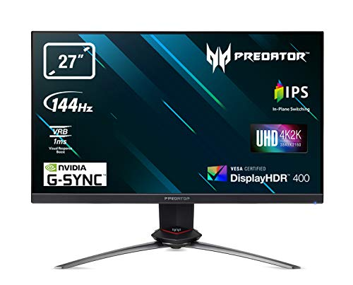 "Predator XB273KGPbmiipprzx Monitor Gaming G-SYNC, 27"", Display 4K IPS UHD, 144 Hz, 1 ms, 16:9, HDMI 2.0, DP 1.4, USB 3.0, Lum 350 (400 Peak) cd/m2, Speaker Integrati, Cavi DP, USB3.0 Inclusi"