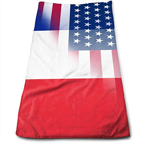 hgfyef USA France Flag Yoga and Out Door Microfiber Ribbed Cotton Hand Towels Washcloth Towels 27.5 Inch X17.5 Inch