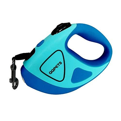 Einziehbare Hundeleine mit heller LED-Taschenlampe, 3 m lange Hundeleine für kleine, mittelgroße Hunde bis 20 kg, verhedderungsfrei, rutschfester Komfortgriff (S - 3 m bis 20 kg), Blau