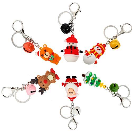 PrestyzOOM 6 chaveiros de Natal, Papai Noel, árvore de Natal, rena, boneco de neve, urso, chaveiro, bolsa, berloques