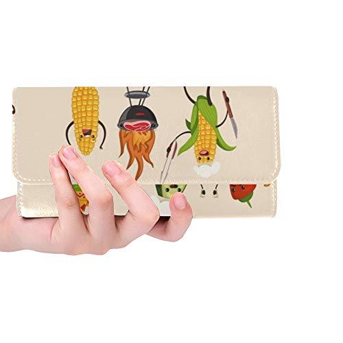 Einzigartige benutzerdefinierte Grill Obst gemüse Set BBQ Frauen Trifold Brieftasche Lange geldbörse kreditkarteninhaber Fall Handtasche