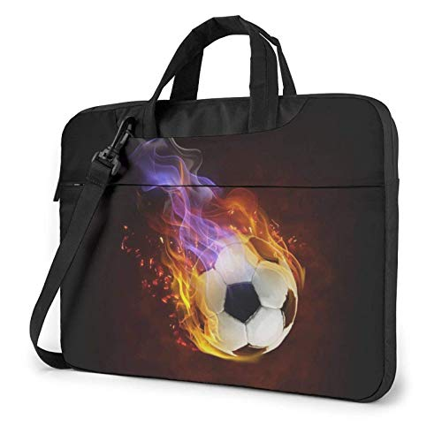 Fire Football Printed Laptop Shoulder Bag,Laptop Case Handbag Business Messenger Bag Briefcase