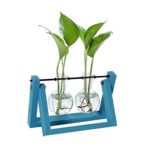 Fintass Hydroponic Glas Planter gloeilamp vaas met houten standaard dienblad tafel Creative Coffee Shop Decor Decor