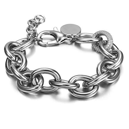 WISTIC Damen Armband mit Funkeln Kristall Armreif Verstellbar Geburtstag Geschenk , White