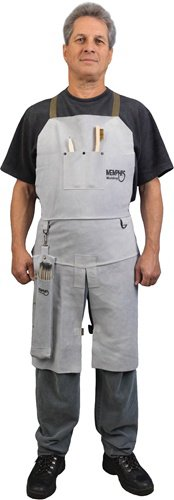 MCR Safety 38236MW 24 by 36-Inch Memphis Split Cow Leather Welding Bib Apron with Split Leg and Front Pocket, Gray