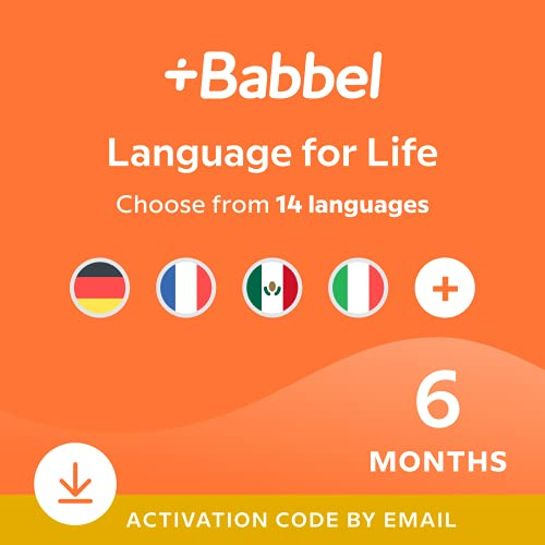 Babbel Language Learning Software - Learn to Speak Spanish, French, English, & More - 14 Languages to Choose from - Compatible with iOS, Android, Mac & PC (6 Month Subscription)