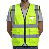 Dib Safety Vest Reflective ANSI Class 2, High Visibility Vest with Pockets and Zipper, Construction Work Vest Hi Vis Yellow L