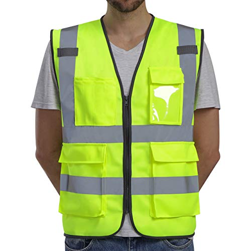 Dib Safety Vest Reflective High Visibility, ANSI Class 2 Vest with Pockets and Zipper, Construction Work Vest Hi Vis Yellow L