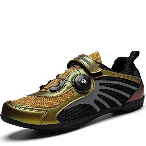 Zapatillas de Ciclismo SPD para Hombres y Mujeres con Tacos, Zapatillas de Bicicleta de Carretera Autobloqueantes MTB Transpirables con Velcro Multicolor ( Color : Oro , Talla : UK-8.5/EU-43/US-9.5 )