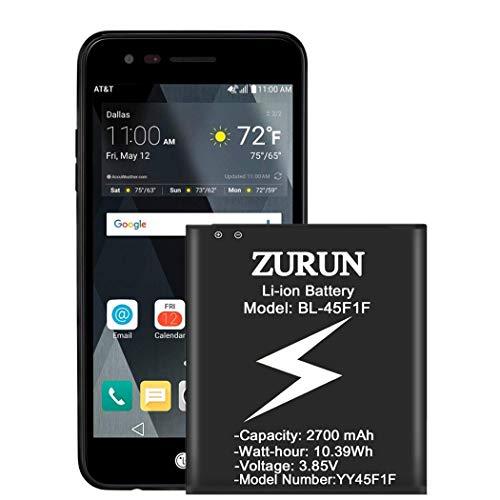 LG BL-45F1F Battery, ZURUN 2700mAh Li-ion Replacement Battery for LG LV3 / Aristo MS210 K8 2017 M150 M210 Phoenix 3 Risio 2 M153 Fortune 2 LMX210CM Phone [2 Year Warranty]