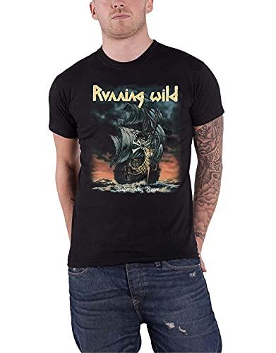 Running Wild T Shirt Under Jolly Roger Album Band Logo New Mens Black Men Black XL