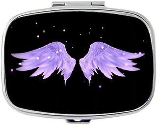 TuMeimei Rectangle Pill Case - Purple angel wings Custom Fashion Style pill box - 2 Compartments pill box/pill case