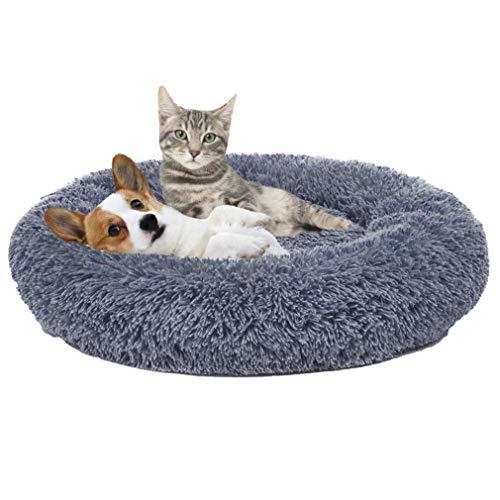 Cozywind rundes Haustierbett für mittelgroßen Hund und EIN Paar Katzen Hellbraun Warmes Kissen oder deluxes Bett mit Weichen Plüsche in Doughnut-Form (70CM, Grau)