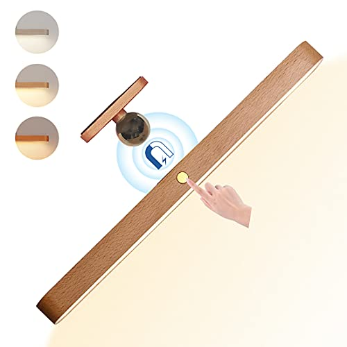 LED Schrankleuchte Batterie, Touch Dimmbar LED Lichtleiste Holz, Schrank Licht mit USB Wiederaufladbar 4W Eingebaut Batterie 2200mAh mit Magnet KüchenLampe, Spiegellampe, Schminkleuchte, Leselampen