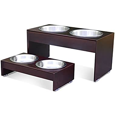 PetFusion Elevated Dog Bowls in Grade A New Zealand Pine (Tall 10 ). Water Resistant & 2 US FOOD GRADE Stainless Steel 56oz bowls