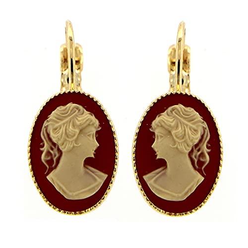 Mokilu Vintage Ohrringe aus hypoallergenem Messing mit 24 K Vergoldung in Antik-Gold-Optik mit Hakenverschluss, zwei rosafarbenen Kameen
