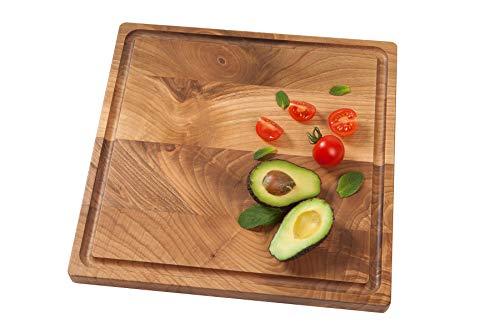 GCB, piatto da portata Brighton in legno di noce, misure 34 x 34 x 2,2 cm. Rustico.
