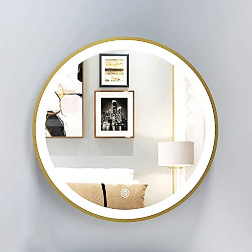 Espejo Redondo para Baño, Dormitorio, LED Dorado/Espejo de Pared Circular Blanco, Espejo de Tocador de Maquillaje Táctil Retroiluminado...