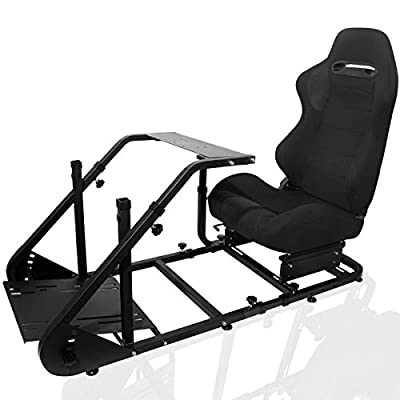 Marada Racing Cockpit Frame Compatible with G25 G27 G29 G920 Height Adjustable Racing Wheel Stand Wheel and Pedals Not Included?with Seat?
