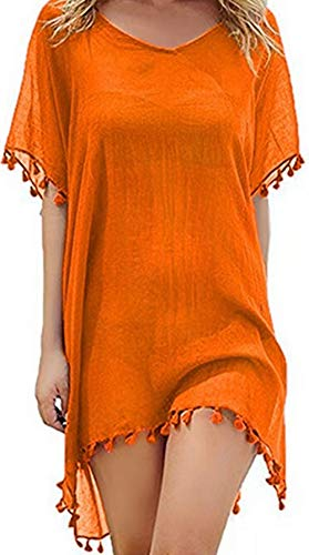 Ho Mall Bohemia Beachwear Damen Sommer Elegant Strand Poncho Damen Chiffon Beachwear Quaste Strandkleid Bikini Swim Badeanzug Cover Up (Orange, Einheitsgröße)