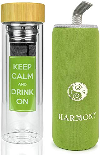 Best Infusion Water Bottle - Premium Fruit And Loose Leaf Tea Stainless Steel Infuser and Travel Tumbler Made of Double Walled Glass With A No Leak Bamboo Lid - Best Tea Infuser - Insulating Sleeve