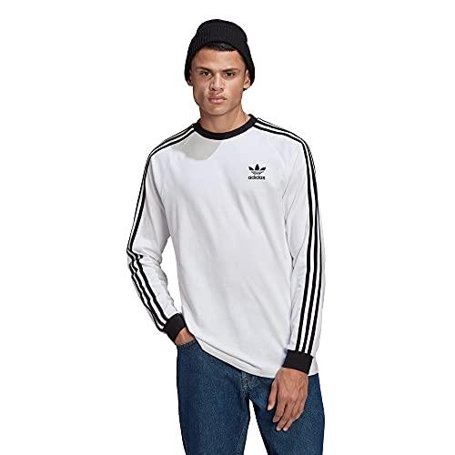 adidas GN3477 3-Stripes LS T Long Sleeved t-Shirt Mens White XL