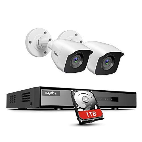 SANNCE Kit de Videovigilancia 4CH DVR 5-en-1 y 2 1080P HD Cámaras de Vigilancia Sistema de Seguridad Visión Nocturna Leds IP66 Interior/Exterior Acceso Remoto-1T Disco Duro