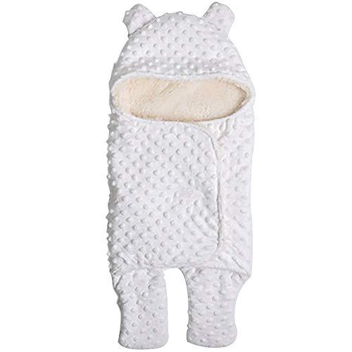 Mariisay Nouveau Né Wrap Swaddle Blanket Chic Baby Casual Sleeping Bag Inner Doublé Doublé Bourse Pour Nouveau Né À Tout Moment Utiliser Avec Velcro (Color : Blanc, Size : L)