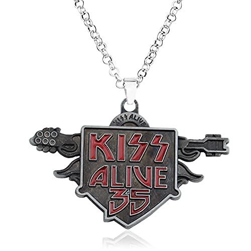 KissBandAlive 35Text Halskette Persönlichkeit Mode Wild Anhänger Halskette Pullover Kette Weihnachtsgeschenk