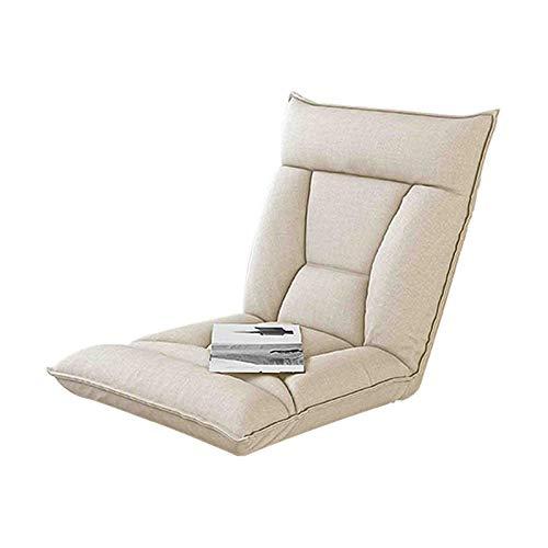 Klappbarer Bodenstuhl mit Rückenlehne Dickes Sitzkissen Lazy Lounge Sofa Verstellbar 5 Winkel Gepolsterte Tatami mit Fußstütze