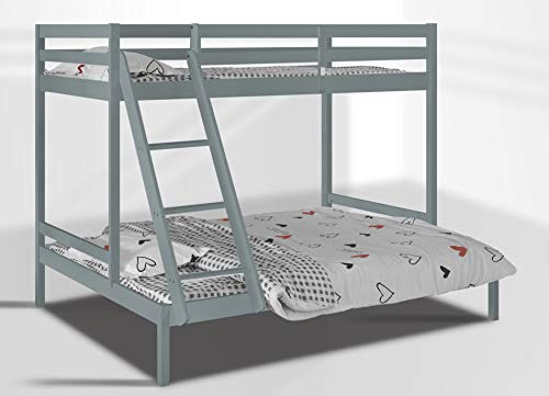 Visco Therapy Kent Wooden Triple Bunk Bed with 3FT Top Bunk and 4FT6 Bottom Bunk available in White and Grey