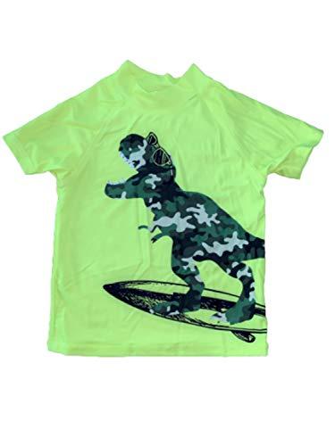 Bullahshah Boys Dinosaur Swim Set Bright Green Camo Print, Swimming Beach, Sun Shorts Top Trunks (5 Years)