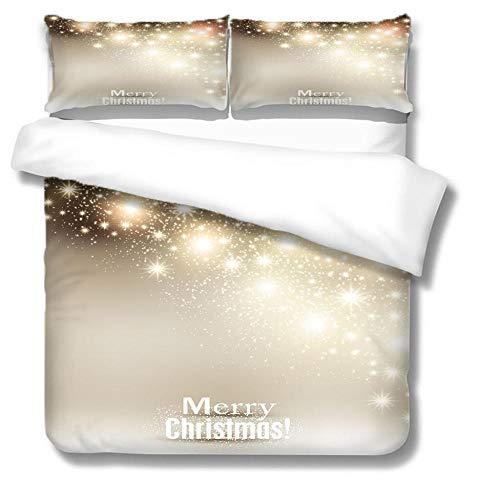 Microfibre Sets de Housse de Couette Lumières de Noël dorées avec Fermeture éclair Anti-Rouille cachée et taie d'oreiller enveloppe 140x200 cm