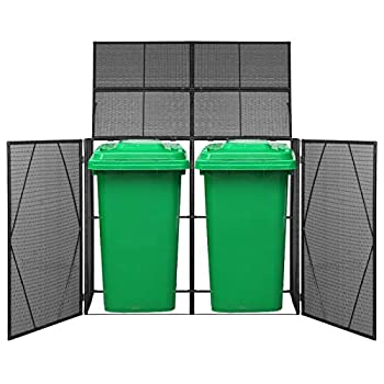 Tidyard Double Wheelie Bin Shed Black Poly Rattan Trash Powder-Coated Steel Frame Water Resistant Trash Container Management Unit with Enclosure and Lid 60.2 x 30.7 x 47.2 Inches  W x D x H