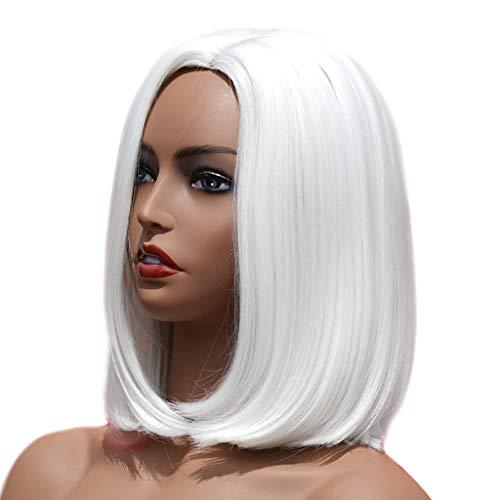 SM SunniMix Gloss Naturel Lisse Perruques Femmes Bouclés Ondulés Cosplay Perruque Perruque De Cheveux Synthétiques - Blanc