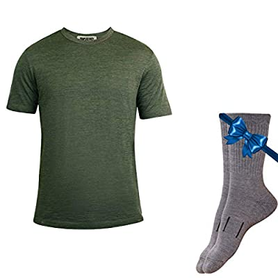 Merino.tech 100% Organic Merino Wool Lightweight Men's T-Shirt + Hiking Wool Socks (XLarge, Olive)
