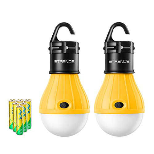 E-TRENDS 2 Pack Portable LED Lantern Tent Camp Light Bulb for Camping Hiking Fishing Emergency Lights, Battery Powered Lamp with 6 AAA Batteries, Yellow