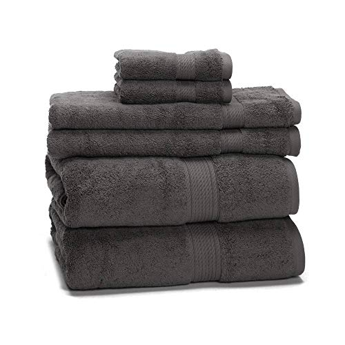 900 GSM 100% Egyptian Cotton 6-Piece Towel Set - Premium Hotel Quality Towel Sets - Heavy Weight & Absorbent - 2 Bath Towels 30' x 55', 2 Hand Towels 20' x 30', 2 Washcloths 13' x 13' Charcoal