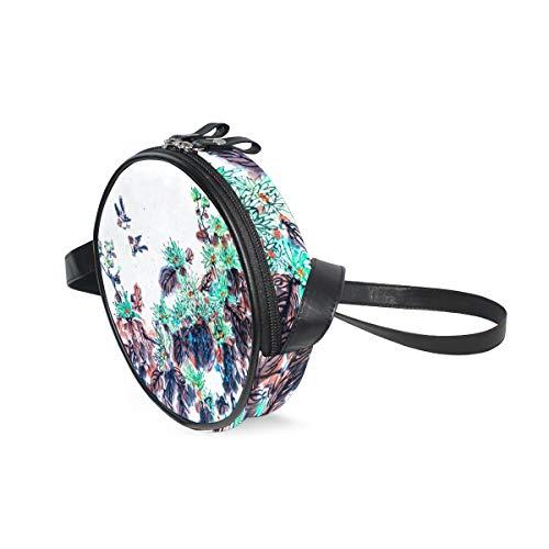 LORONA Zeichnung Spezielle grafische Tradition Festival Frühling Runde Umhängetasche Schultertasche Handtasche Geldbörse Umhängetasche für Kinder Frauen