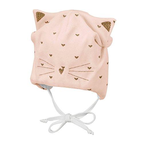 Sterntaler Mütze für Mädchen mit Bindebändern und Katzenohren, Alter: ab 4-5 Monate, Größe: 41, Pink (Zartrosa)